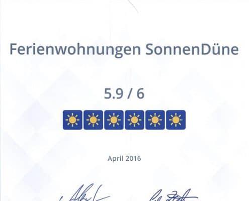 HolidayCheck Quality Selection 2016_Urkunde