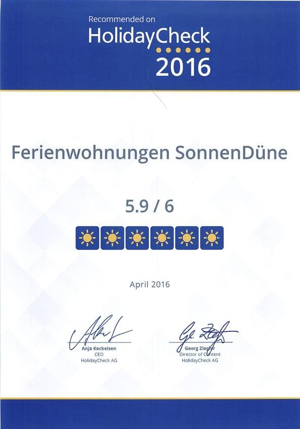 Auch dieses Jahr hat die SonnenDÜne wieder den Award von HolidayCheck erhalten.